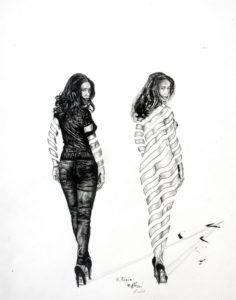 Elena im Spiegel Skizze Reihe