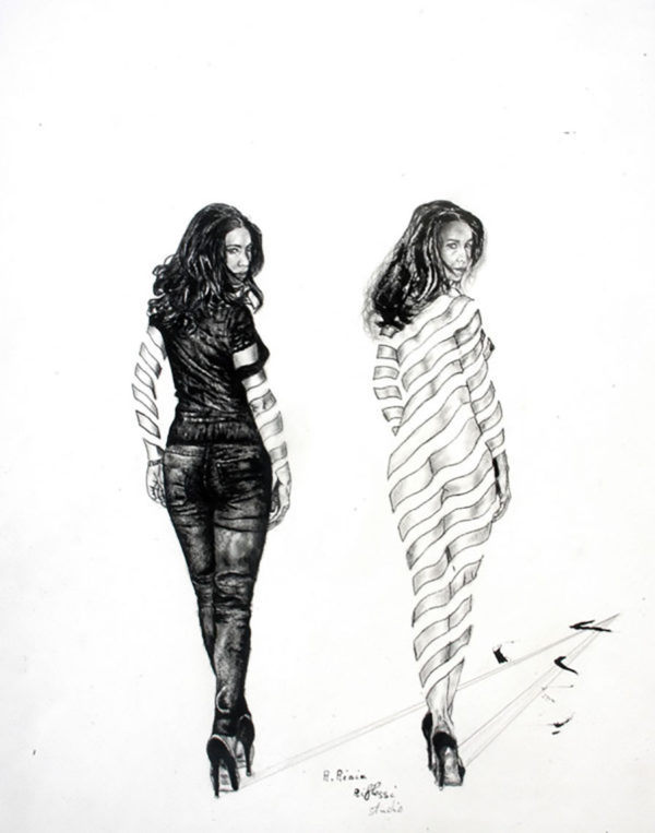 Elena in the mirror sketch series
